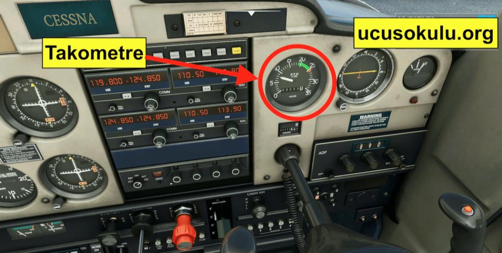 Takometre uçuş bordo panelinde bir göstergedir.
